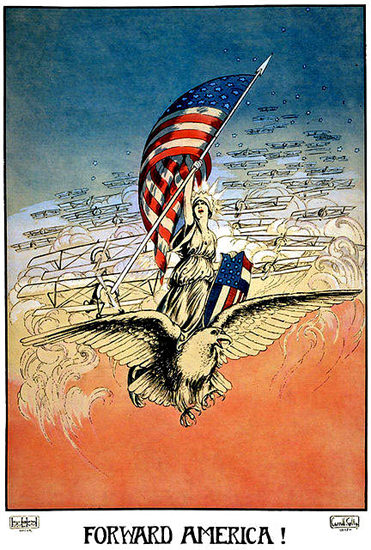 Forward America Liberty Esgle Airplane | Vintage War Propaganda Posters 1891-1970