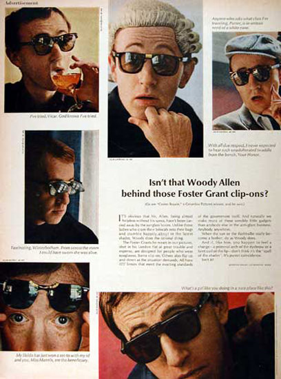 Foster Grant Sunglasses 1967 Woody Allen | Sex Appeal Vintage Ads and Covers 1891-1970