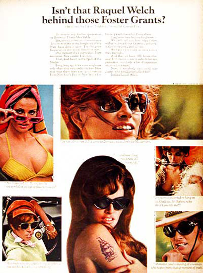 Foster Grant Sunglasses 1968 Raquel Welch | Sex Appeal Vintage Ads and Covers 1891-1970