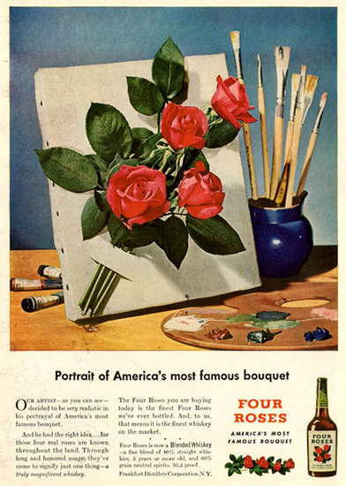 Four Roses Portrait Of Americas Bouquet 1947 | Vintage Ad and Cover Art 1891-1970
