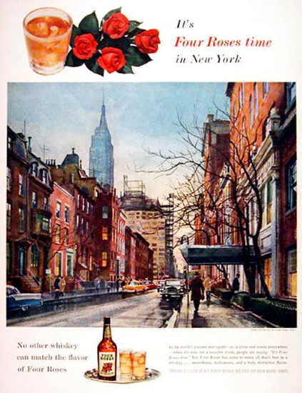 Four Roses Whiskey 1955 Old New York | Vintage Ad and Cover Art 1891-1970
