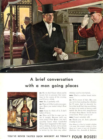 Four Roses Whiskey Brief Conversation 1942 by John Falter | Sex Appeal Vintage Ads and Covers 1891-1970