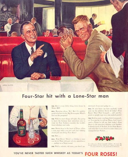 Four Roses Whiskey Lone-Star Man 1942 by John Falter | Vintage Ad and Cover Art 1891-1970