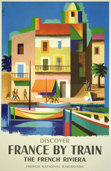 France By Train Riviera French National Railroad | Vintage Travel Posters 1891-1970
