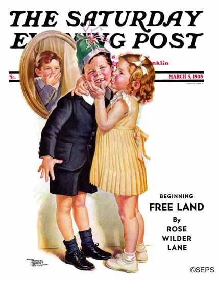 Frances Tipton Hunter Saturday Evening Post Birthday Kiss 1938_03_05 | The Saturday Evening Post Graphic Art Covers 1931-1969