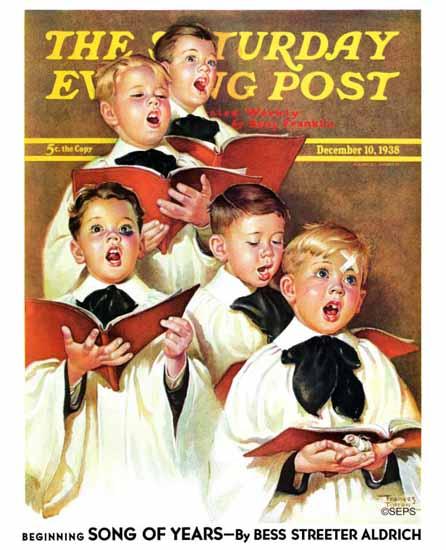 Frances Tipton Hunter Saturday Evening Post Choir Boys 1938_12_10 | The Saturday Evening Post Graphic Art Covers 1931-1969