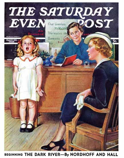 Frances Tipton Hunter Saturday Evening Post In Front of Class 1938_04_30 | The Saturday Evening Post Graphic Art Covers 1931-1969