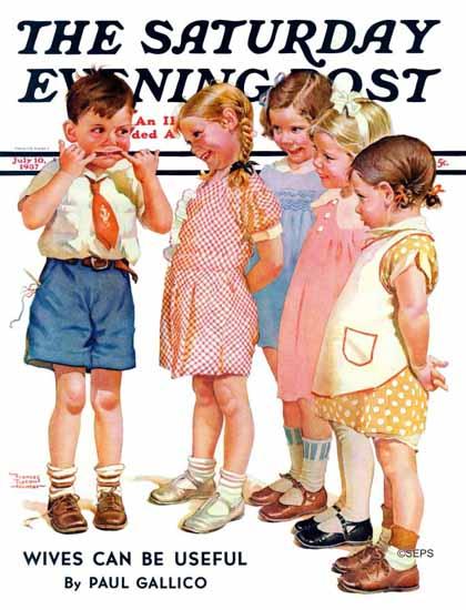 Frances Tipton Hunter Saturday Evening Post Making Faces 1937_07_10 | The Saturday Evening Post Graphic Art Covers 1931-1969