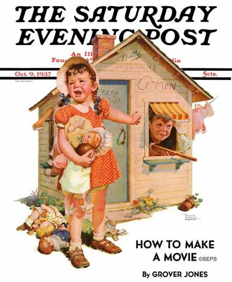 Frances Tipton Hunter Saturday Evening Post No Girls Allowed 1937_10_09 | The Saturday Evening Post Graphic Art Covers 1931-1969