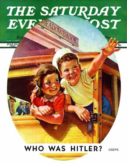 Frances Tipton Hunter Saturday Evening Post Riding Trolley 1940_07_20   The Saturday Evening Post Graphic Art Covers 1931-1969