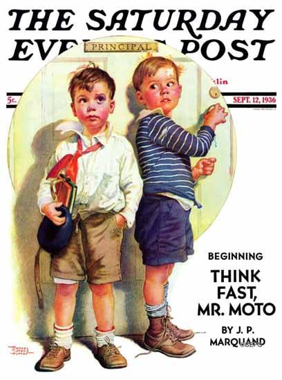 Frances Tipton Hunter Saturday Evening Post School Fight 1936_09_12 | The Saturday Evening Post Graphic Art Covers 1931-1969