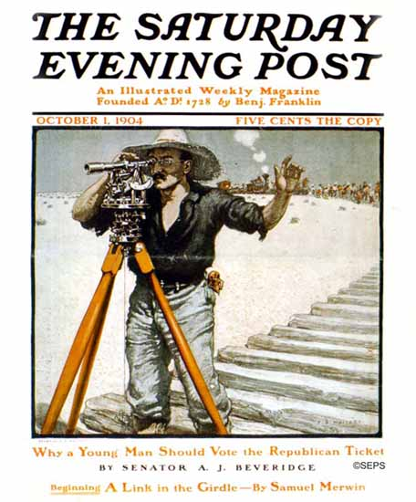 Frank B Masters Saturday Evening Post Land Surveyor 1904_10_01 | The Saturday Evening Post Graphic Art Covers 1892-1930