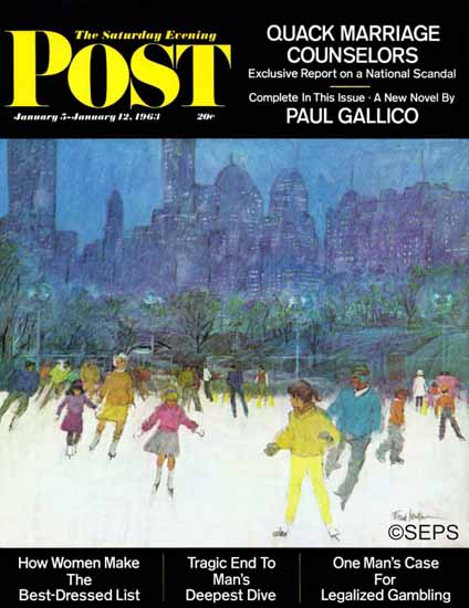 Frank Mullins Saturday Evening Post Ice Skating Central Park 1963_01_05 | The Saturday Evening Post Graphic Art Covers 1931-1969