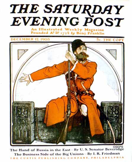 Frank Walter Taylor Saturday Evening Post The Hand of Russia 1903_12_12 | The Saturday Evening Post Graphic Art Covers 1892-1930