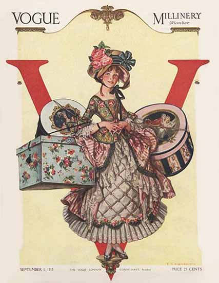 Frank X Leyendecker Vogue Cover 1913-09-01 Copyright | Vogue Magazine Graphic Art Covers 1902-1958