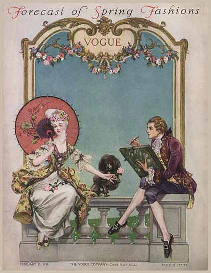 Frank X Leyendecker Vogue Cover 1914-02-15 Copyright | Vogue Magazine Graphic Art Covers 1902-1958