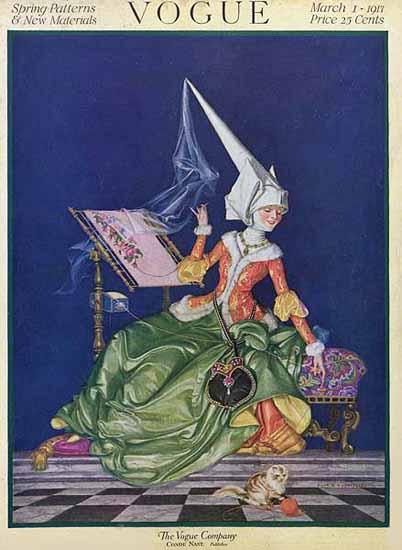 Frank X Leyendecker Vogue Cover 1917-03-01 Copyright   Vogue Magazine Graphic Art Covers 1902-1958