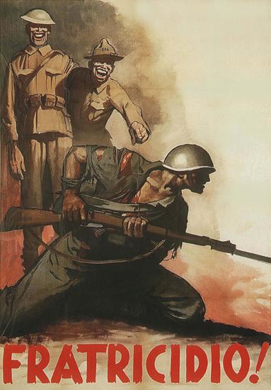 Fratricidio Italy Italia Anti American Propaganda | Vintage War Propaganda Posters 1891-1970