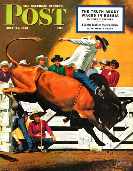 Fred Ludekens Saturday Evening Post Bull Riding 1945_07_21 | The Saturday Evening Post Graphic Art Covers 1931-1969