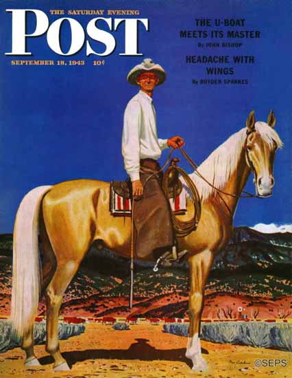 Fred Ludekens Saturday Evening Post Cowboy on Palomino 1943_09_18 | The Saturday Evening Post Graphic Art Covers 1931-1969