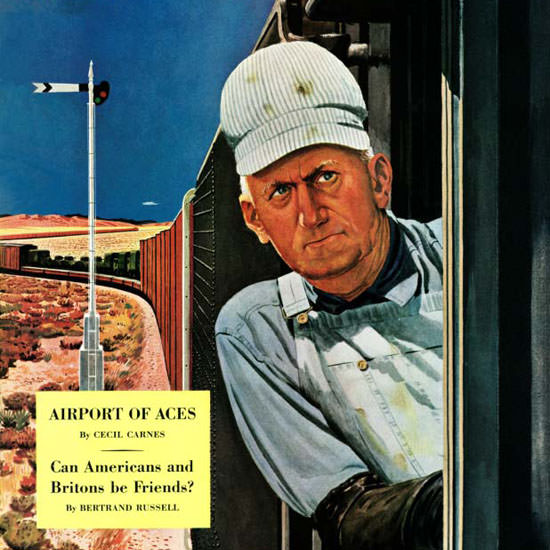 Fred Ludekens Saturday Evening Post Engineer 1944_06_03 Copyright crop | Best of Vintage Cover Art 1900-1970