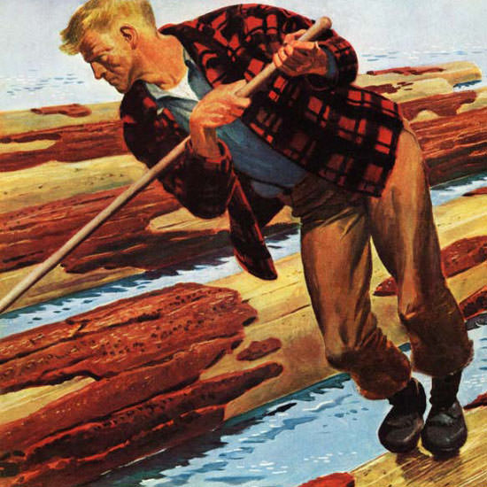 Fred Ludekens Saturday Evening Post Log 1943_12_11 Copyright crop | Best of Vintage Cover Art 1900-1970