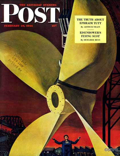Fred Ludekens Saturday Evening Post Ships Propeller 1944_02_26 | The Saturday Evening Post Graphic Art Covers 1931-1969