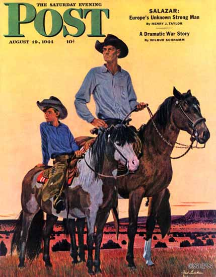 Fred Ludekens Saturday Evening Post Surveying the Ranch 1944_08_19 | The Saturday Evening Post Graphic Art Covers 1931-1969