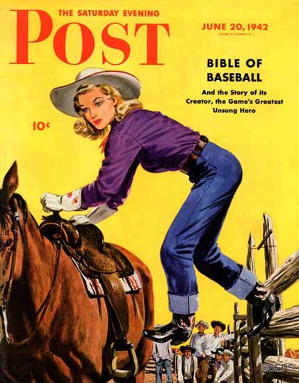 Fred Ludekens Saturday Evening Post Woman at Dude Ranch 1942_06_20   The Saturday Evening Post Graphic Art Covers 1931-1969