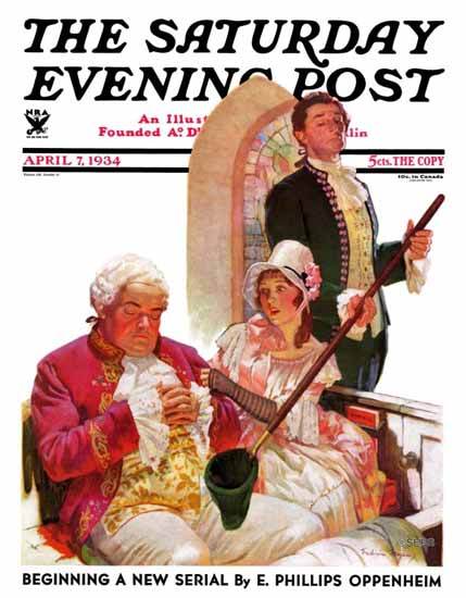 Frederic Mizen Saturday Evening Post Sleeping in Church 1934_04_07 | The Saturday Evening Post Graphic Art Covers 1931-1969