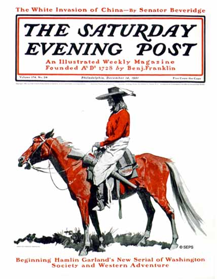 Frederic Remington Saturday Evening Post Western Adventure 1901_12_14 | The Saturday Evening Post Graphic Art Covers 1892-1930