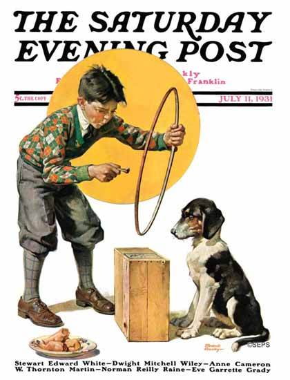 Frederic Stanley Saturday Evening Post Old Dog New Tricks 1931_07_11 | The Saturday Evening Post Graphic Art Covers 1931-1969