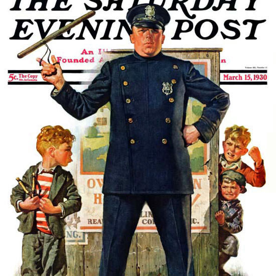 Frederic Stanley Saturday Evening Post Police 1930_03_15 Copyright crop | Best of 1930s Ad and Cover Art