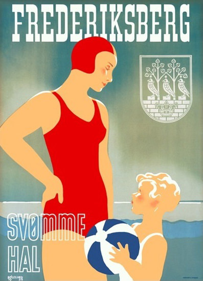 Frederiksberg Svomme Hal Denmark Swimming | Vintage Ad and Cover Art 1891-1970