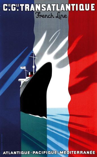 French Line Atlantique Mediterranee 1937 | Vintage Travel Posters 1891-1970