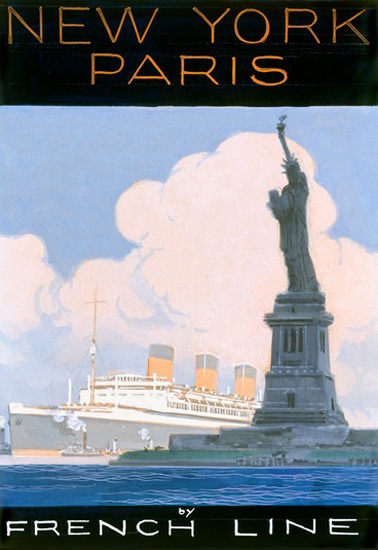 French Line New York To Paris Statue Of Liberty | Vintage Travel Posters 1891-1970