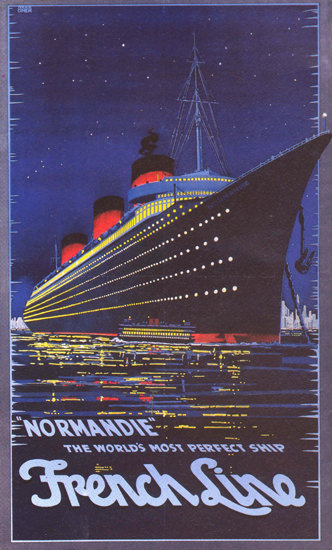 French Line Normandie Worlds  Perfect Ship 1939 | Vintage Travel Posters 1891-1970