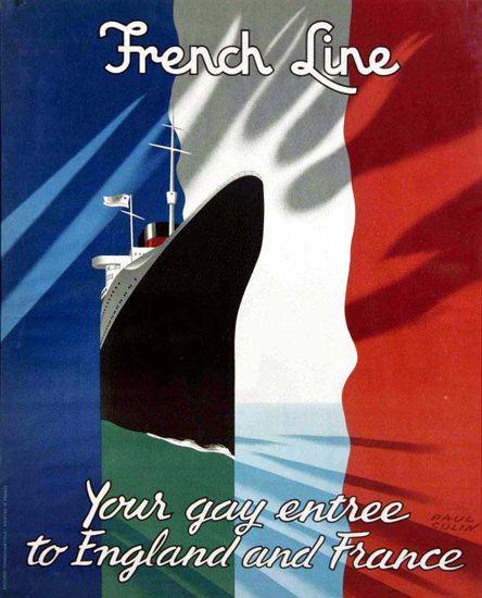 French Line To England And France 1949 P Colin | Vintage Travel Posters 1891-1970