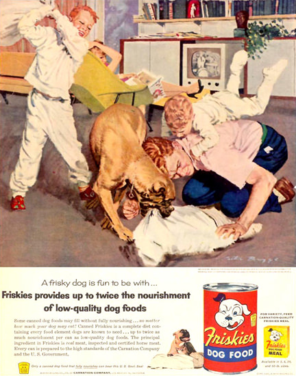 Friskies Dog Food Brawl Scuffle Tussle 1955 | Vintage Ad and Cover Art 1891-1970