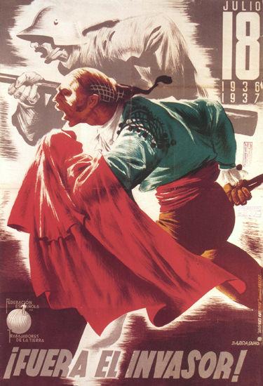 Fuera El Invasor 1937 Spain Espana | Vintage War Propaganda Posters 1891-1970
