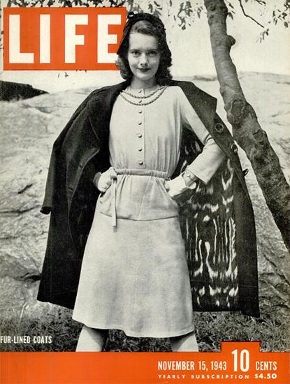 Fur-Lined Coats 15 Nov 1943 Copyright Life Magazine | Life Magazine BW Photo Covers 1936-1970