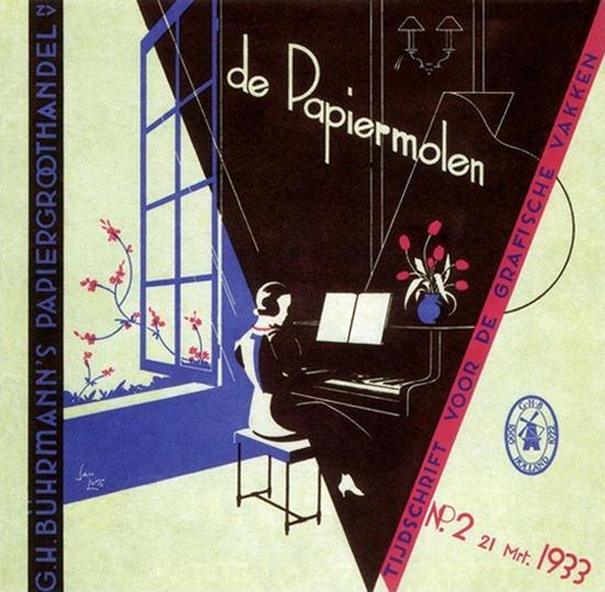G H Buhrmanns De Papiermolen 1933 Piano | Vintage Ad and Cover Art 1891-1970