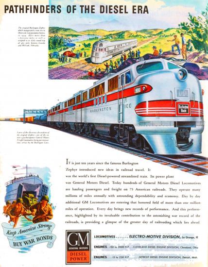 GM Diesel Power Pathfinders Of Diesel Era 1940s   Vintage Ad and Cover Art 1891-1970