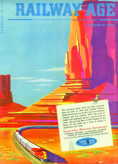 GM Electro LocoMotive 1951 Monumente Valley | Vintage Ad and Cover Art 1891-1970
