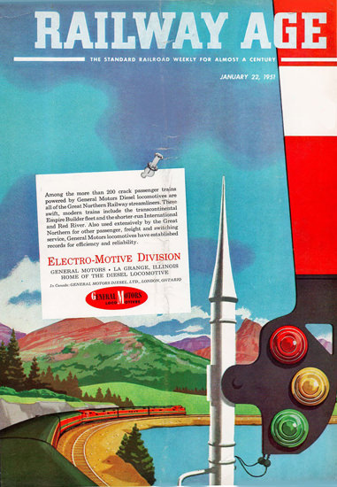 GM Electro LocoMotive 1951 Mountains | Vintage Ad and Cover Art 1891-1970