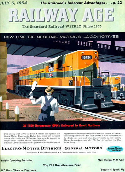 GM Electro LocoMotive 1954 Great Northern | Vintage Ad and Cover Art 1891-1970