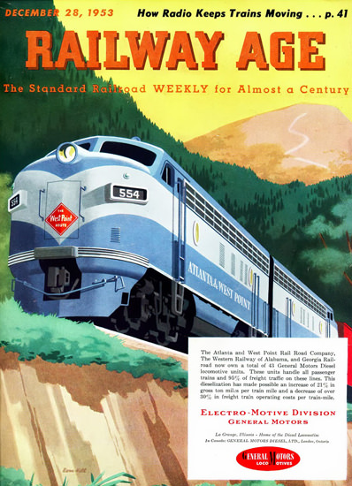 GM Electro LocoMotive Division 1953 Mountains | Vintage Ad and Cover Art 1891-1970