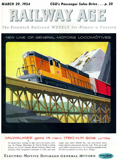 GM Electro LocoMotive Division 1954 Milwaukee | Vintage Ad and Cover Art 1891-1970