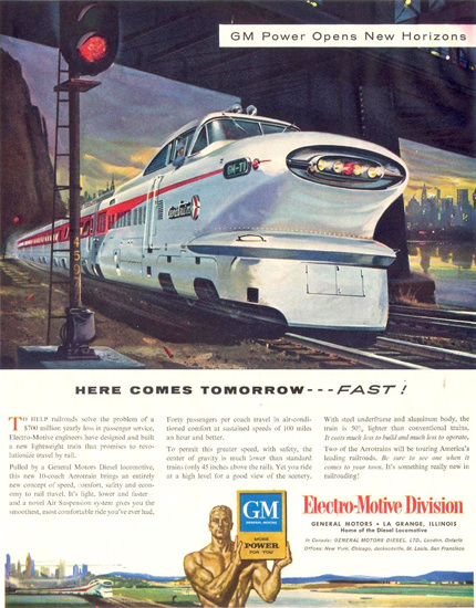 GM Electro LocoMotive Division Tomorrow 1955 | Vintage Ad and Cover Art 1891-1970