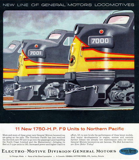 GM Electro LocoMotive Northern Pacific 1954 | Vintage Ad and Cover Art 1891-1970
